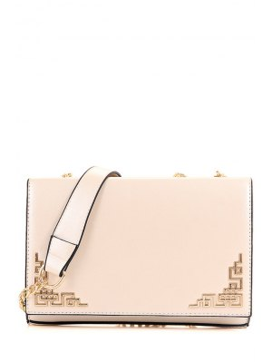 Metallic Chains PU Leather Crossbody Bag - Off-white