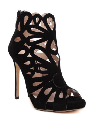 Hollow Out Peep Toe Black Sandals - Black
