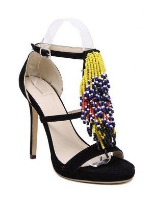 Colorful Beading Stiletto Heel Sandals