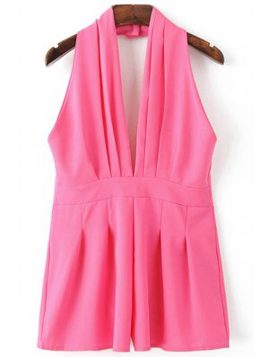 Backless Solid Color Plunging Neck Sleeveless Romper - Rose