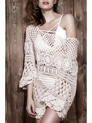 Crochet Cut Out Cover Up - Off-white