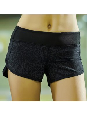 Printed Workout Shorts - Black