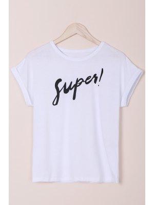Letter Round Neck Short Sleeves T-Shirt - White L