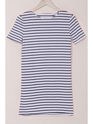 Stripes Round Collar Short Sleeve Dress