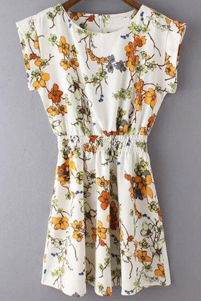 Round Neck Bat-Wing Sleeve Fitting Flower Print Dress