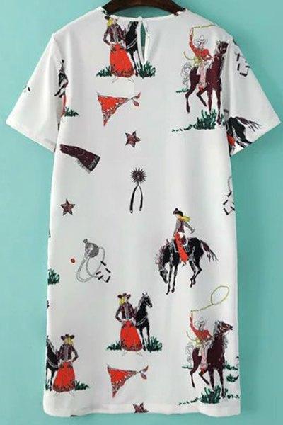 Fitting Horse Print Jewel Neck Short Sleeve Dress - WHITE L
