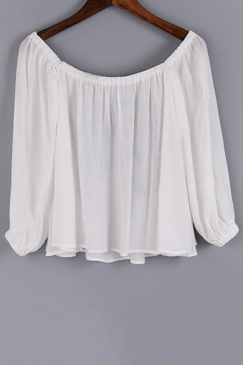 Floral Embroidery Scoop Neck 3/4 Sleeve Blouse - WHITE L