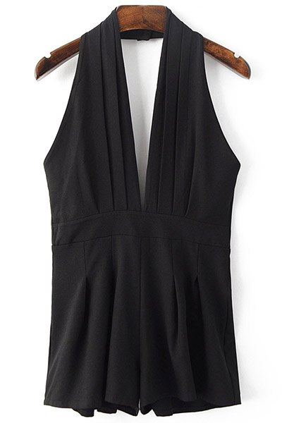 Plunging Neck Sleeveless Solid Color Backless Romper