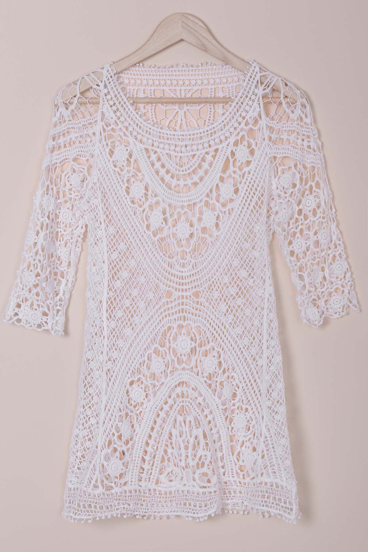 Round Collar 3/4 Sleeve Cut Out Crochet Cover-Up