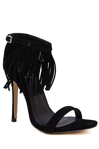 Solid Color Fringe Stiletto Heel Sandals