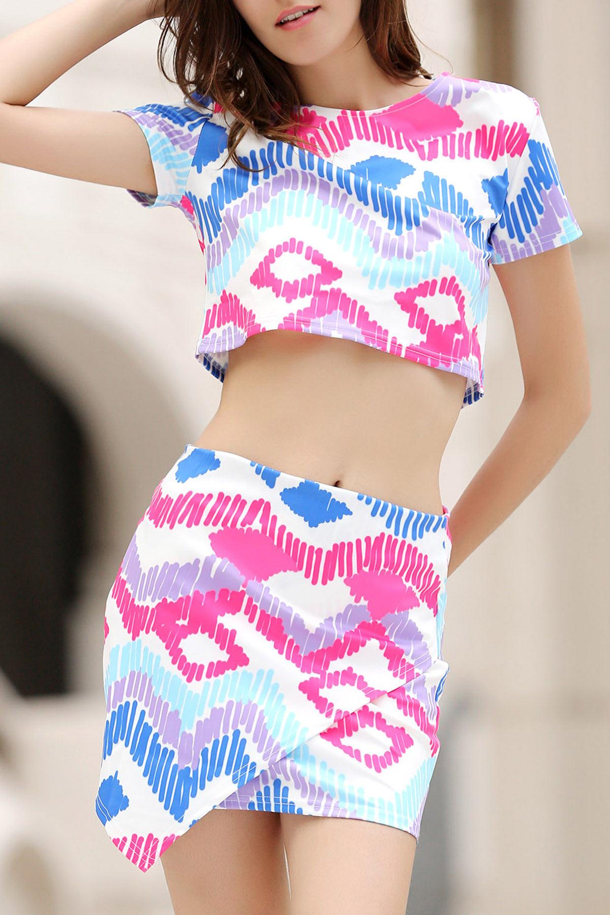 Argyle Print Short Sleeve Crop Top and Mini Skirt SuitClothes<br><br><br>Size: S<br>Color: COLORMIX