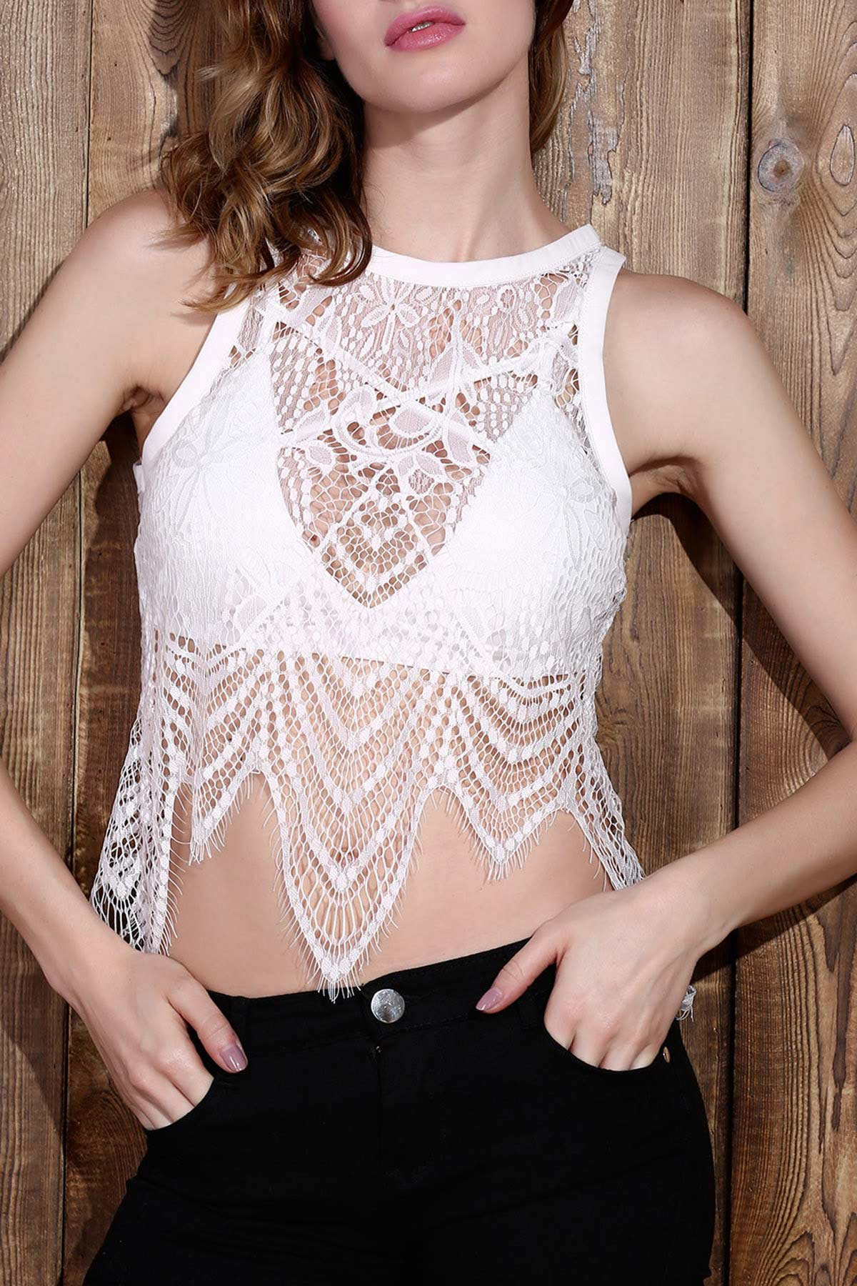 See-Through Lace Round Neck Tank Top