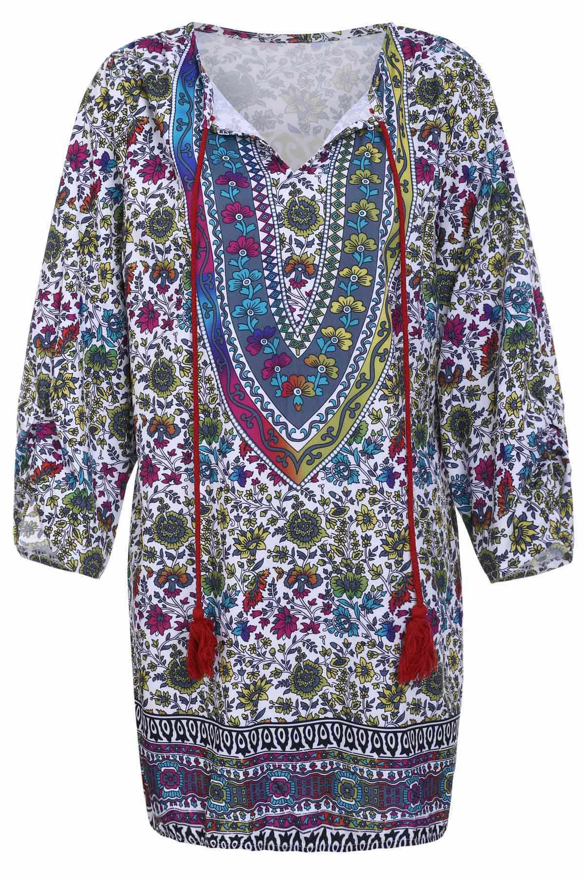 V Neck Floral Print Tassel 3/4 Sleeve Dress