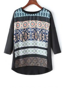 High-Low Printed Round Neck 3/4 Sleeve T-Shirt