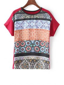 Fitting Printed Round Neck Short Sleeve T-Shirt