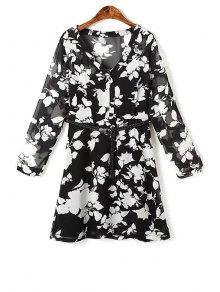 Flower Print V Neck Long Sleeve Chiffon Dress