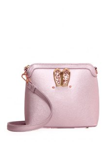 Sequined Bunny Ear PU Leather Crossbody Bag