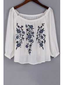 Floral Embroidery Scoop Neck 3/4 Sleeve Blouse
