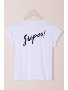 Letter Round Neck Short Sleeves T-Shirt