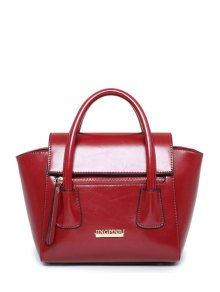 Letters Solid Color PU Leather Tote Bag