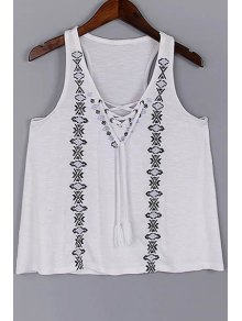 Lace Up V-Neck Embroidery Tank Top