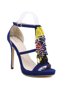 Colorful Sandales à Talons Perles Stiletto - Bleu