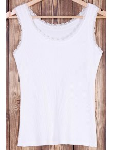 Solid Color Lace Splicing Scoop Neck Tank Top