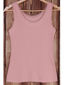 Solid Color Lace Splicing Scoop Neck Tank Top - Pink