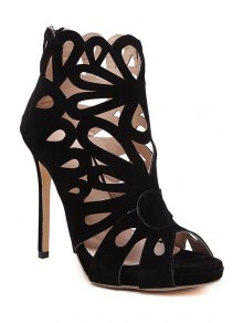 Hollow Out Peep Toe Black Sandals - Black 38