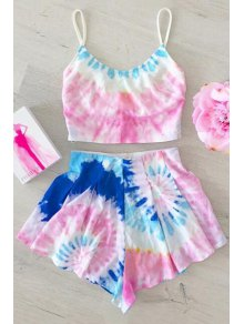 Colored Cami Crop Top And Flouncy Shorts Swimsuit - M