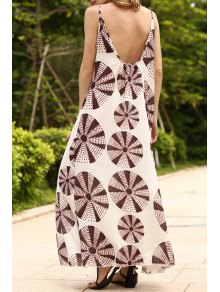 Circle Print Cami Backless Maxi Dress
