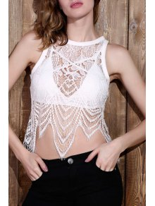 Buy See-Through Lace Round Neck Tank Top - WHITE XL