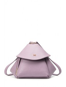 Buy Bow Solid Color PU Leather Satchel - PURPLE