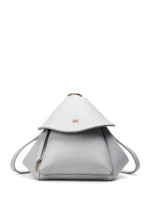 Buy Bow Solid Color PU Leather Satchel - LIGHT GRAY