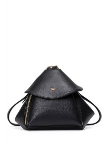 Buy Bow Solid Color PU Leather Satchel - BLACK