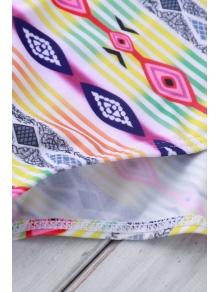 Spaghetti Strap Cross Color Block Stripe Swimwear - COLORMIX S