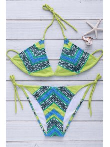 Halterneck Color Block Plaid Print Bikini Set