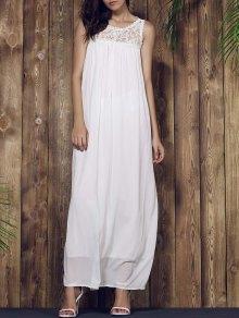 Lace Yoke Maxi Chiffon Beach Dress - White