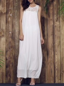 Lace Yoke Maxi Chiffon Beach Dress