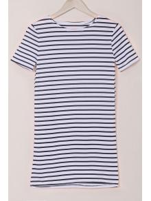 Stripes Round Collar Short Sleeve Dress