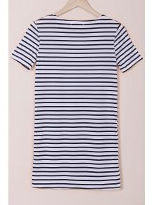 Stripes Round Collar Short Sleeve Dress - WHITE/BLACK S