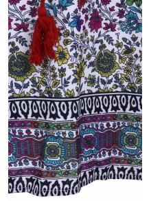 V Neck Floral Print Tassel 3/4 Sleeve Dress - COLORMIX S