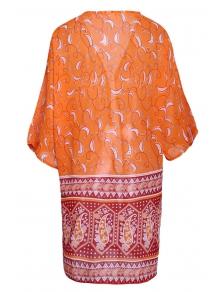Paisley Print 3/4 Sleeves Kimono - ORANGE S