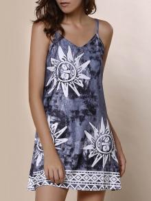 Spaghetti Strap Argyle Elephant Print Dress - GRAY S