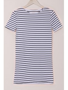 Stripes Round Collar Short Sleeve Dress - White And Black M