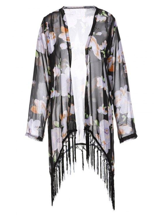 latest Collarless Tassel Splicing Floral Long Sleeve Kimono - BLACK S