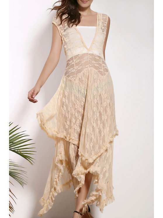 online Irregular Hem Lace Prom Dress - APRICOT M