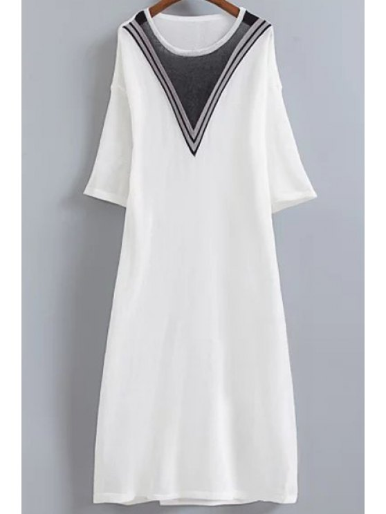 trendy V-Shaped Stripe Knitted Dress - WHITE ONE SIZE(FIT SIZE XS TO M)