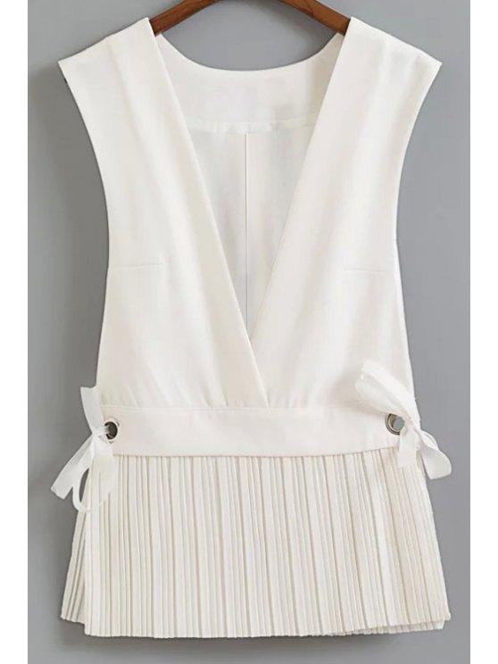 Escotado plisada Hem Chaleco - Blanco S