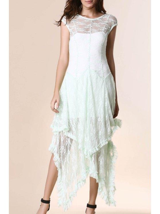 Dobladillo irregular del cordón del vestido de fiesta - Verde Claro M